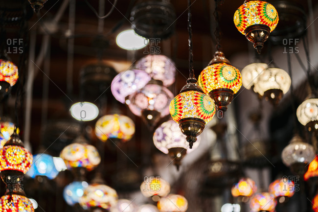 Abundance of colorful ceiling lamps