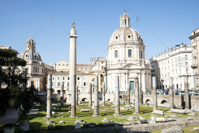 February 24, 2020: Italy- Rome- Trajans Forum and Church of Most Holy Name of Mary at Trajan Forum