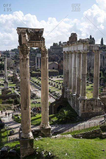 February 26, 2020: Italy- Rome- Roman Forum and colonnades of Temple of Vespasian and Titus