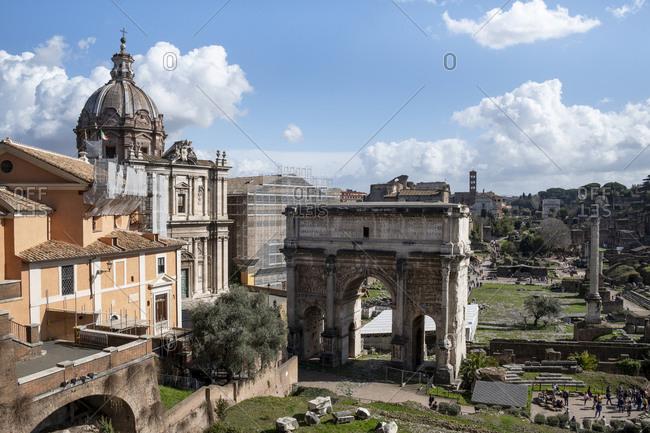 Italy- Rome- Roman Forum and Arch of Septimius Severus