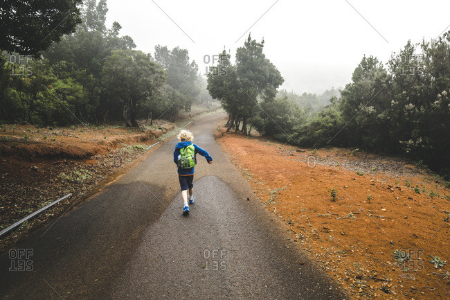 Back view of little boy with backpack  walking on country road- La Gomera- Canary Islands- Spain