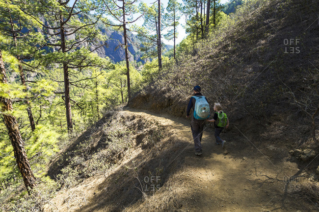 Back view of father walking with his little son on a hiking trail- La Palma- Canary Islands- Spain