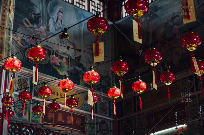 February 27, 2020: Malaysia- Rows of red lanterns hanging inside temple