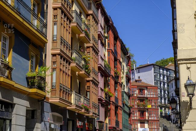 September 12, 2019: Spain- Biscay- Bilbao- Old residential houses along Gurutze Kalea street