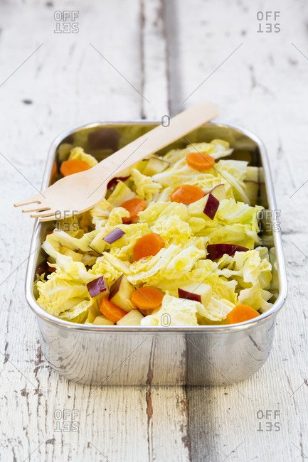 Lunch box of winter salad with Chinese cabbage- apples and carrots