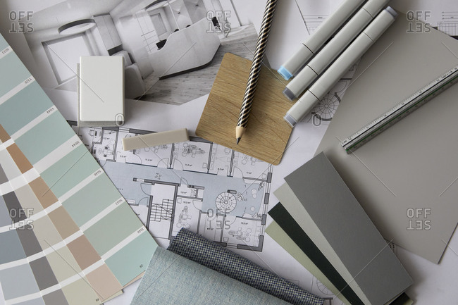 Collection of various architectural supplies and swatches
