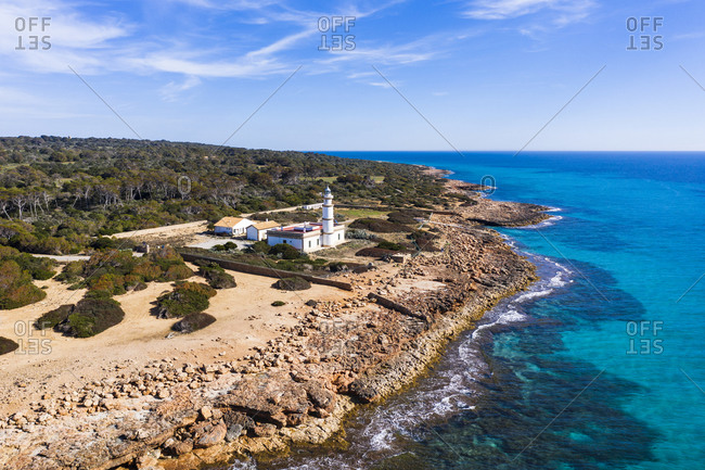 Spain- Balearic Islands- Mallorca- Aerial view of lighthouse at Cap de ses Salines