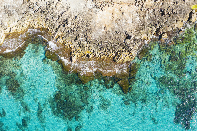 Spain- Balearic Islands- Mallorca- Aerial view of turquoise coast of Mediterranean Sea
