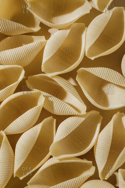 Close-up on a pile of pasta shells