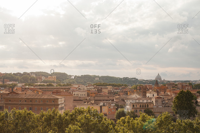 Cityscape view of Rome, Italy on an overcast day