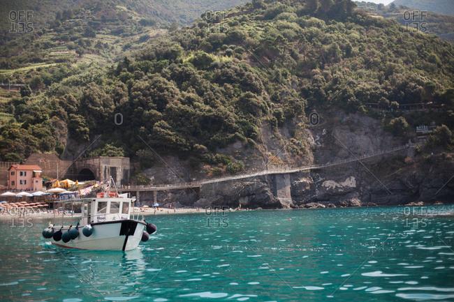 Monterosso Al Mare, Cinque Terre, Italy - June 18, 2018: Lush landscape seen from a boat tour