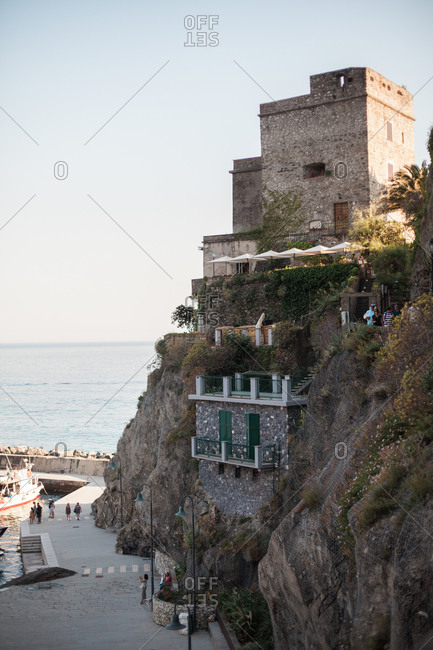 Cinque Terre, Italy - June 18, 2018: Cliffside view of Monterosso Al Mare
