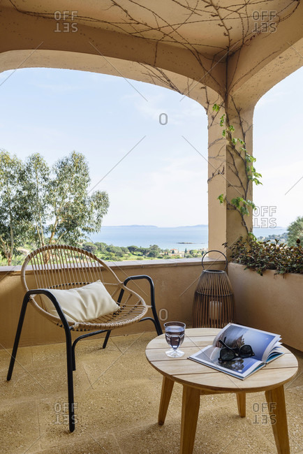 France - April 18, 2018: Terrace with a view of the Mediterranean Sea in south of France
