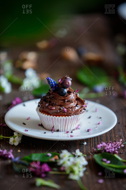Chocolate cupcake decorated with flowers and blueberries on wooden table
