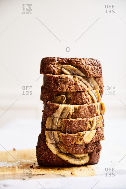 Banana bread loaf sliced and stacked