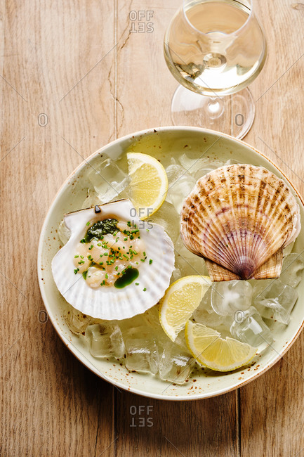 Scallops in shells on ice served with white wine