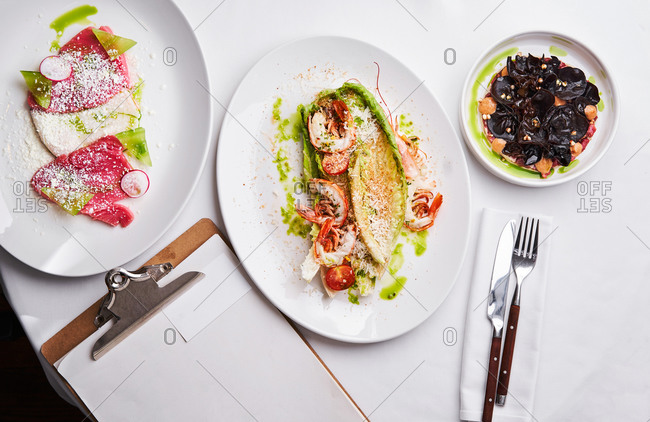 Gourmet seafood dishes served in a restaurant