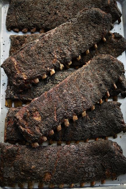Rack of ribs at bbq restaurant