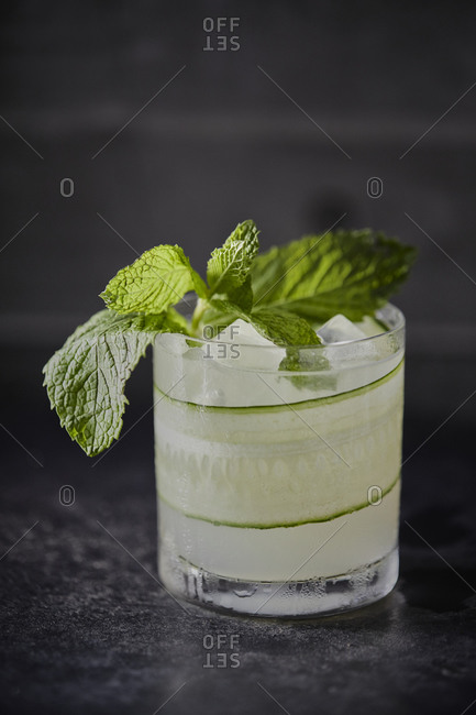 Cocktail with cucumber and mint