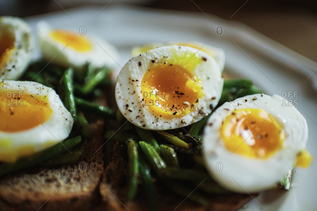 Simple eggs and toast for breakfast