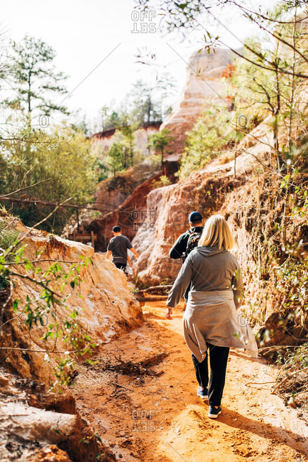People hiking on trail at Providence Canyon State Park, Georgia