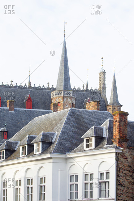 View of rooftops in traditional style in Bruges, Belgium