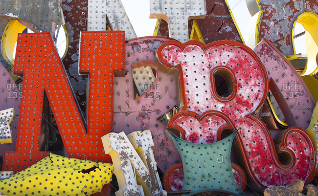 Las Vegas, Nevada, USA - May 3, 2018: The Neon museum collection of old discarded signs from casinos