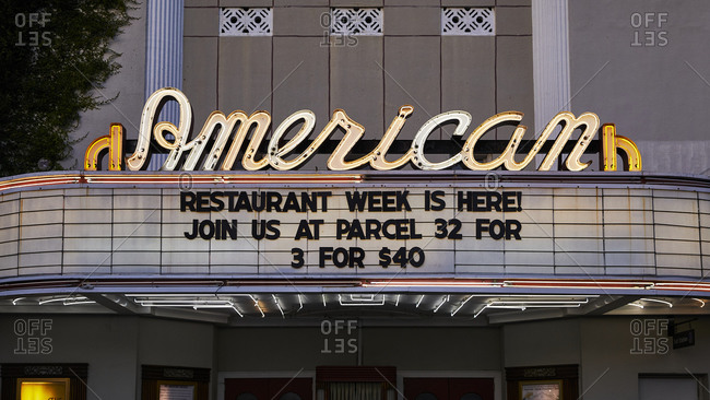 Charleston, South Carolina, USA - September 6, 2018: The American Theater exterior with sign for restaurant week