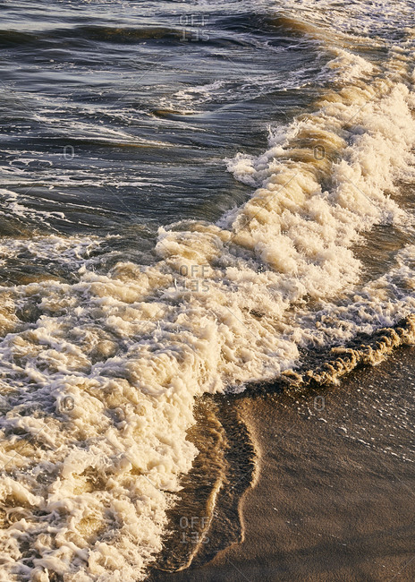 Waves washing up on the shore of Charleston, South Carolina