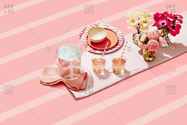 Summer Party Products on Pink Striped Background