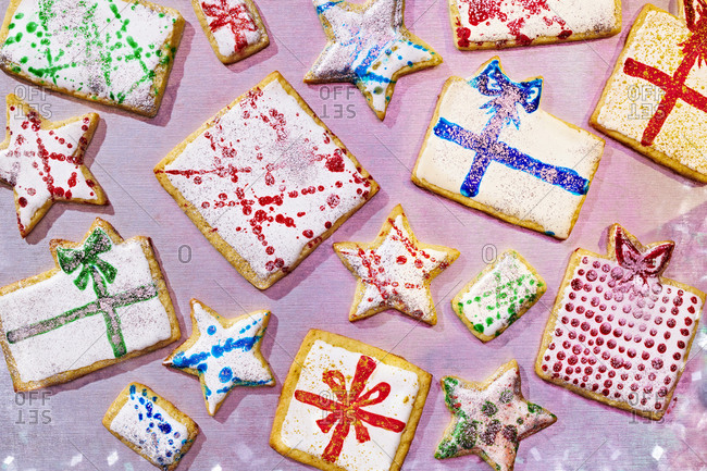 Colorful Painted Present Sugar Cookies