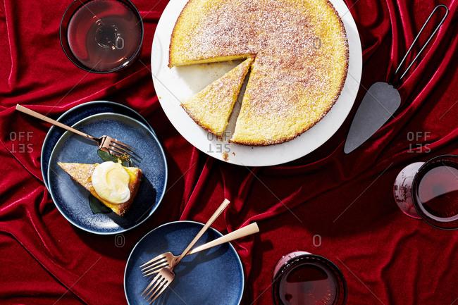 Sauternes Cake on a Red Velvet Background