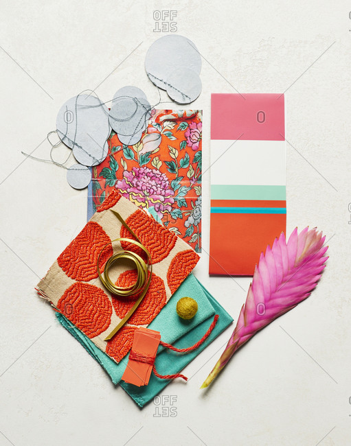 Still Life of Fabric Swatches and Color Inspiration
