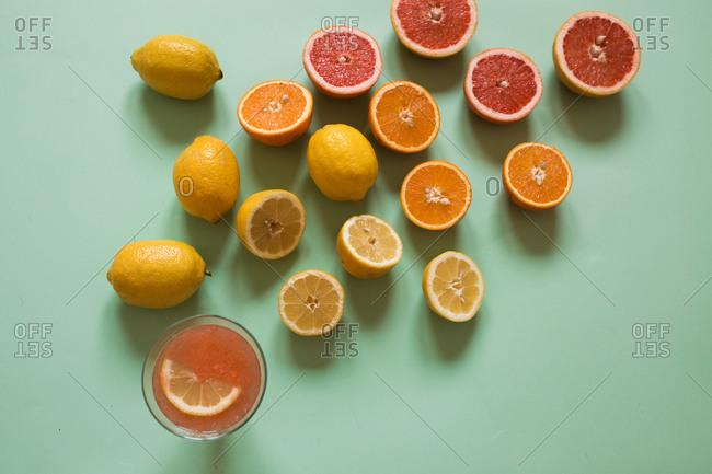 A glass of fresh citrus juice