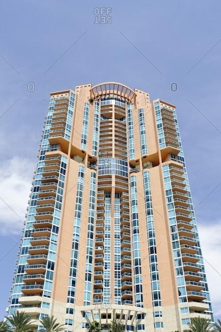September 28, 2011: Skyscraper, tower at South Pointe Park, Miami South Beach, Florida, USA