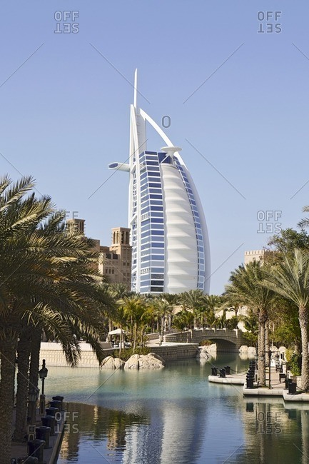February 15, 2012: Burj al Arab, during the day, Souk Madinat, Jumeirah, Emirate of Dubai, United Arab Emirates, Arabian Peninsula, Middle East