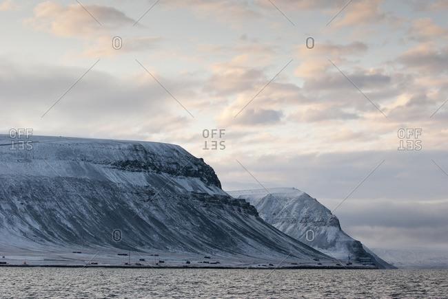 Mountain massif at dusk, Spitsbergen, Norway, Europe