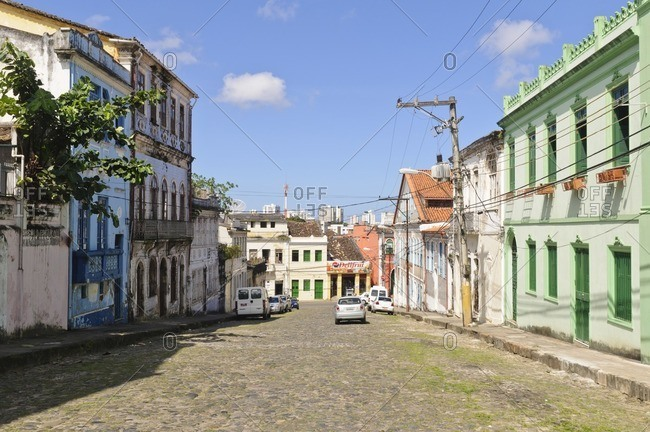 August 9, 2010: Alley with historic buildings, Pelourinho, Salvador da Bahia, Bahia, Brazil, South America