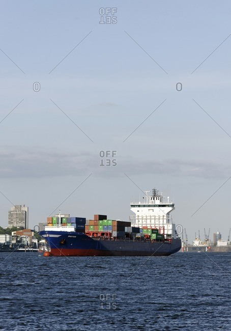 June 1, 2011: Large container ship at Burchardkai Terminal in the port, Hamburg, Germany