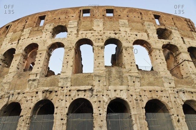 Detailed view of Colosseum wall, Rome, Italy