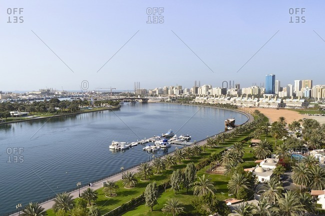 City view of Sharjah with Sharjah Creek, Emirate of Sharjah, United Arab Emirates, Arabian Peninsula, Middle East