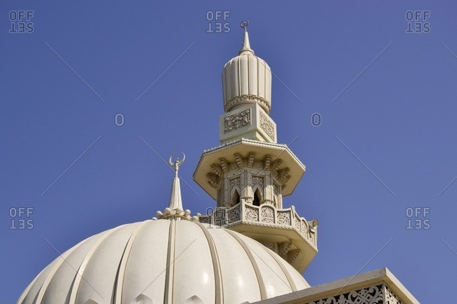 Minaret of a mosque, Corniche Street, Emirate of Sharjah, United Arab Emirates, Arabian Peninsula, Middle East