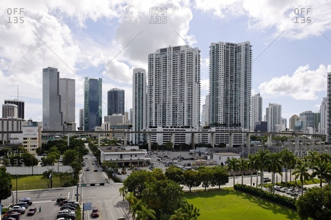 September 29, 2011: Skyscrapers, tower, office building, Downtown Miami, Miami, Florida, USA