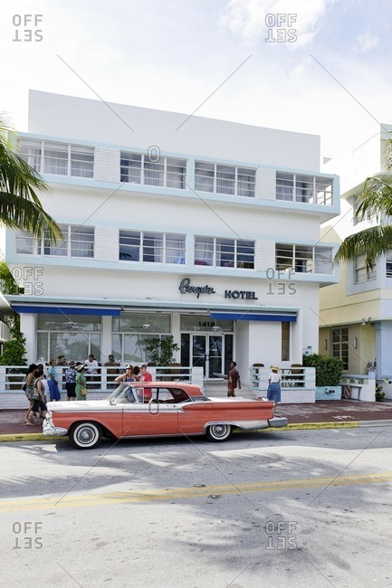 October 4, 2010: Ford Galaxie, Bj. 1959, fifties, classic American car, Ocean Drive, Miami South Beach, Art Deco District, Florida, USA