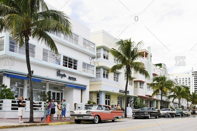 October 4, 2010: American classic cars, Ocean Drive, Miami South Beach, Art Deco District, Florida, USA