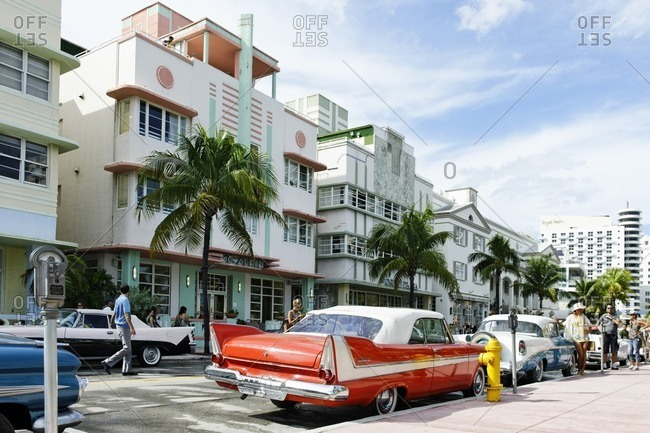 October 4, 2010: Plymouth Belvedere Convertible, year 1957, fifties, classic American car, Ocean Drive, Miami South Beach, Art Deco District, Florida, USA
