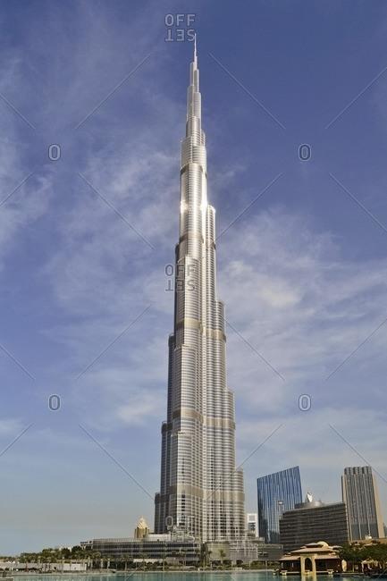 February 15, 2012: Burj Khalifa, whole building in front of blue sky, architecture, Dubai Business Bay, Emirate of Dubai, United Arab Emirates, Arabian Peninsula, Middle East
