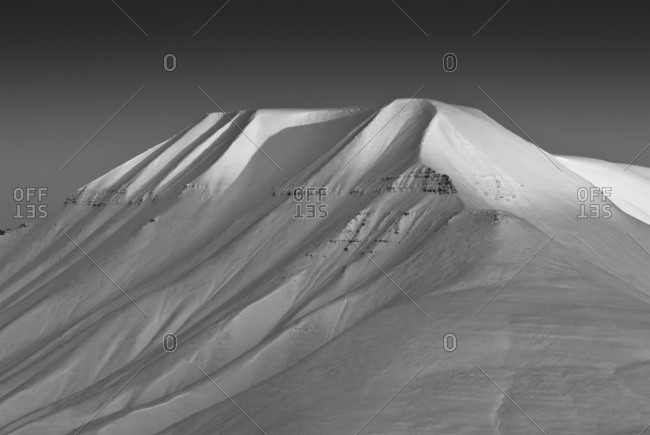 Massif of Adventdalen at dusk, Spitsbergen, Norway, Europe