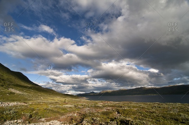 Bygdinsee in fine weather and evening sun, Jotunheimen National Park, Norway