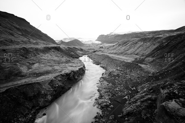 River bed in barren landscape on the way from Skogar to Landmannalaugar, Iceland, Europe